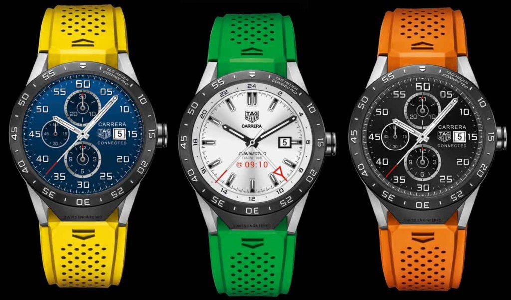 The different looks on the new Connected Watch from TAG Heuer. TAG Heuer©